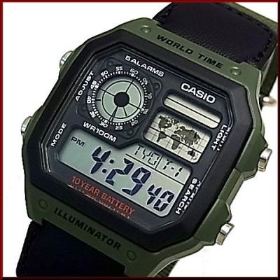 CASIO/Standard【カシオ/スタンダード】デジタル 世界地図表示ワールドタイム メンズ腕時計 モスグリーンナイロンベルト 海外モデル AE-1200WHB-3B