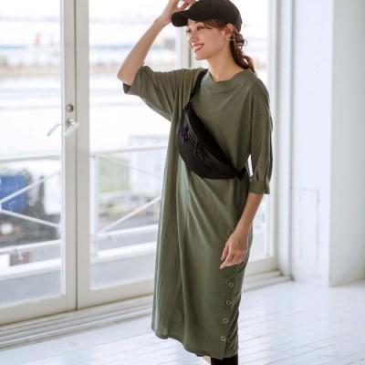 ベルーナ 裾ボタン使い袖タックワンピース ターコイズ M レディース
