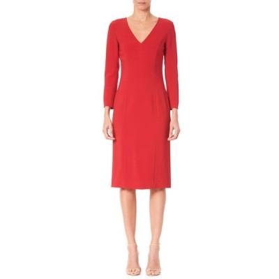 キャロライナヘレラ レディース ワンピース トップス Long-Sleeve V-Neck Sheath Dress
