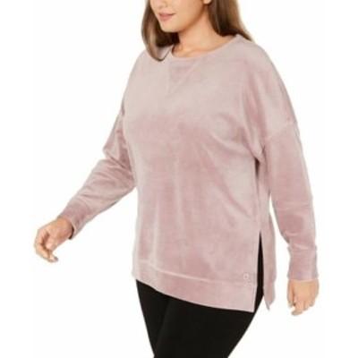 Calvin Klein カルバンクライン ファッション トップス Calvin Klein NEW Pink Womens Size 2X Plus Velvet Slit Pullover Sweater