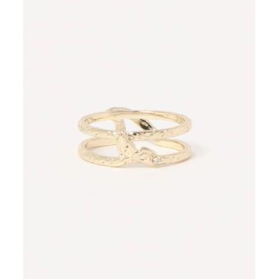 指輪 【Kahiko】ウェーブ&ホエールテール2連メタルリング