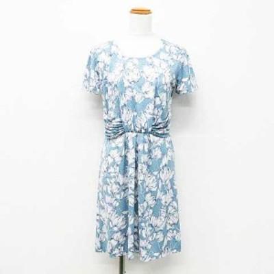 【中古】EMMAJAMES ワンピース ドレス 半袖 ミニ丈 花柄 タック ギャザー 水色 白 ネイビー M レディース