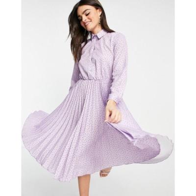 クローゼット ミディドレス レディース Closet London pleated midi dress with sparkle button in lilac spot print エイソス ASOS