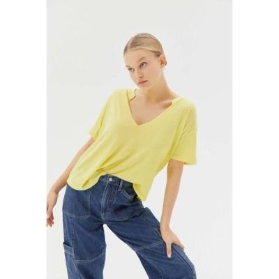 アーバンアウトフィッターズ Urban Outfitters レディース トップス UO Jadie Split-Neck Top Light Yellow