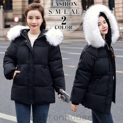 中綿ダウンコートレディースショート軽い秋冬アウター中綿コート中綿ジャケットダウン風コートフード付き厚手暖かいスリム
