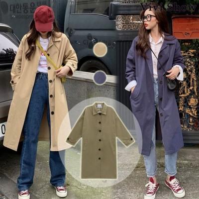 スプリングコート レディース トレンチコート 薄手 ゆったり 体型カバー ロングコート 女性用 アウター オシャレ 通勤