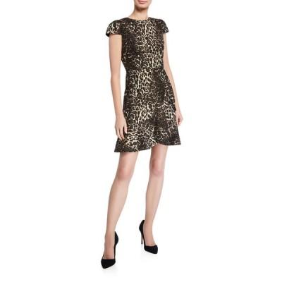 アリス アンド オリビア レディース ワンピース トップス Kirby Ruffle Short-Sleeve Dress