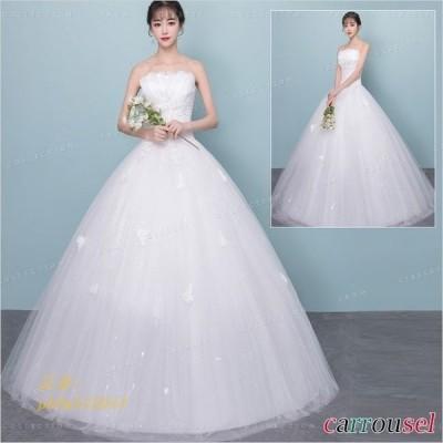 花嫁ドレス ウェディングドレス 結婚式 ノースリーブ 華やかドレス ワンピース レディース