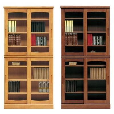 本棚 書棚 引き戸 完成品 幅85cm リビングボード ガラス扉 木製 ハイタイプ 日本製