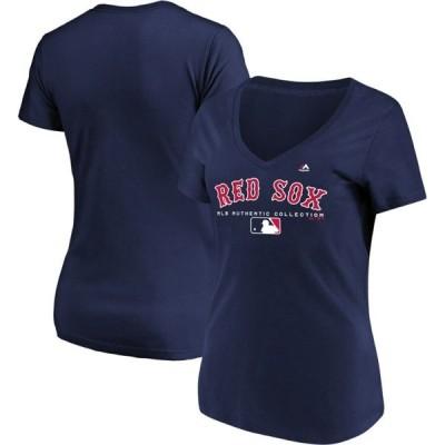 マジェスティック レディース Tシャツ トップス Boston Red Sox Majestic Women's Authentic Team Drive T-Shirt