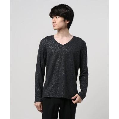 tシャツ Tシャツ TORNADO MART∴ステイン起毛幾何長袖カットソー