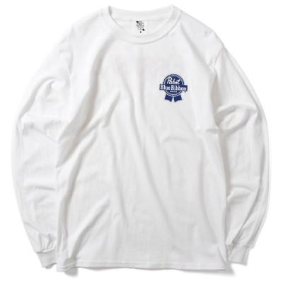 PABST BLUE RIBBON パブストブルーリボン ORIGINAL LOGO L/S TEE 長袖 Tシャツ WHITE ホワイト