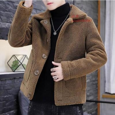 人気 ショートコート ファーコート 防風 フェイクファー メンズ コート上着 冬物 アウター 上質 お洒落 長袖 カジュアル ジャケット 毛皮コート 防寒 暖かい