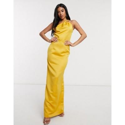 ヤウラ マキシドレス レディース Yaura satin coloumn maxi dress with strappy back in marigold エイソス ASOS イエロー 黄