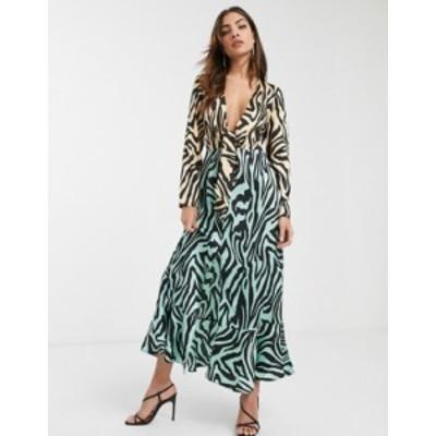 エイソス レディース ワンピース トップス ASOS DESIGN knot front maxi dress in mixed animal print Green/orange zebra