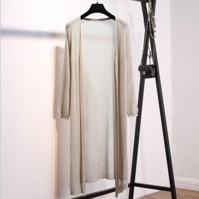 薄手のロングガウン ベージュ カーディガン 羽織り トップス カジュアル きれいめ 韓国ファッション 中国ファッション ギャル アパレル 海外 インポート