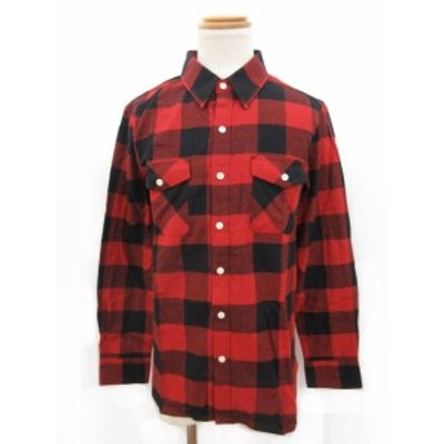 【中古】未使用品 エークロージング A-Clothing シャツ 長袖 チェック M 赤 レッド /ey メンズ