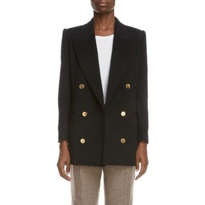 イヴ サンローラン SAINT LAURENT レディース スーツ・ジャケット アウター Double Breasted Wool & Angora Blazer Noir