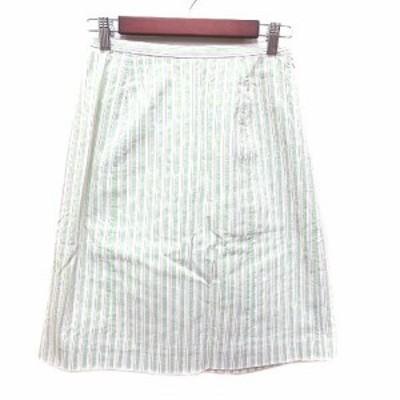【中古】ポールスチュアート PAUL STUART 台形スカート ひざ丈 ストライプ 9 緑 グリーン 白 ホワイト /YK レディース