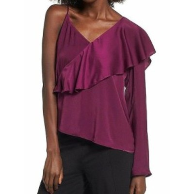 Leith ライス ファッション トップス Leith NEW Purple Womens Size Medium M Satin Ruffle One-Shoulder Blouse
