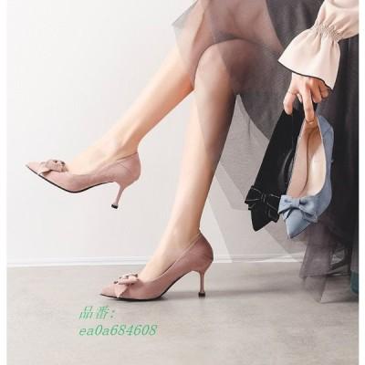 秋物パンプス入荷 大人気リボン 秋素材 ポインテッド走れる 痛くない 韓国ファッション 7cmヒール 可愛い