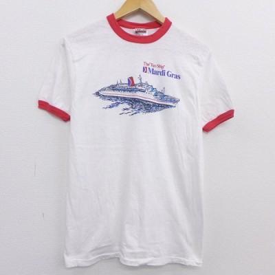 M/古着 半袖 ビンテージ Tシャツ 80s 船 クルーネック 白 ホワイト 霜降り 20aug17 中古 メンズ