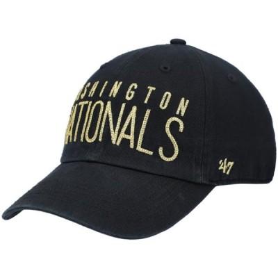 レディース スポーツリーグ メジャーリーグ Washington Nationals '47 Women's Shimmer Text Clean Up Adjustable Hat - Black - OSFA