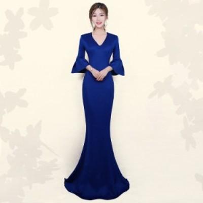 パーティードレス 安い 可愛い イブニングドレス キャバ ナイトクラブ ホステス カラードレス ロング 花嫁 フレア袖 Vネック
