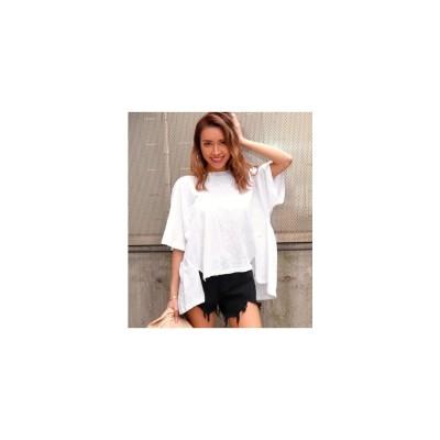 ANAP BACKギャザースラブゆるTシャツ ホワイト