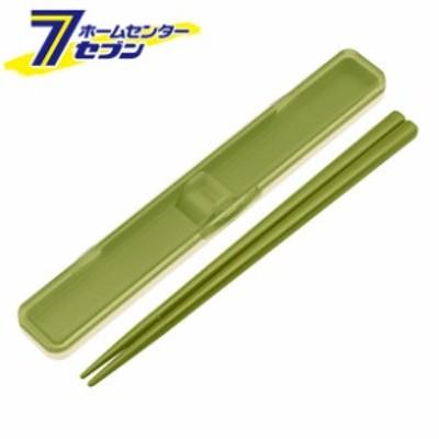 抗菌音の鳴らない箸箱セット 18cm レトロフレンチ グリーン ABC3AG スケーター [お弁当小物 グッズ]