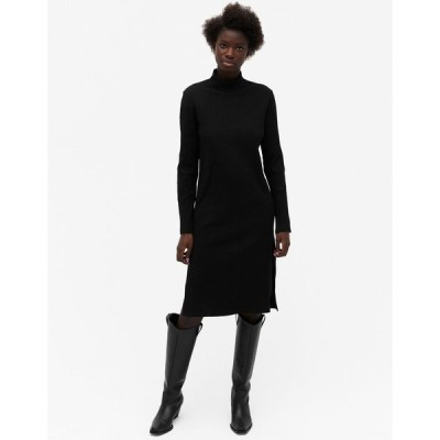 モンキ ミディドレス レディース Monki Deva organic cotton rib jumper midi dress in black エイソス ASOS ブラック 黒