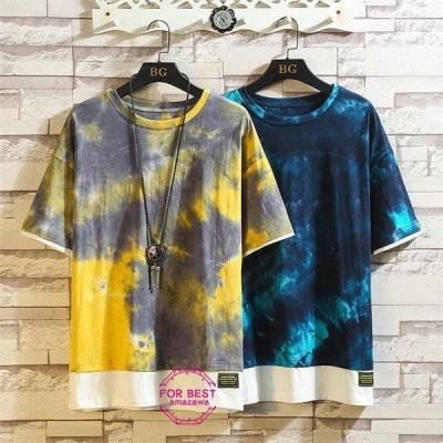 七分袖Tシャツ メンズ tシャツ 重ね着風 五分袖Tシャツ 切り替え カットソー カジュアル 大きいサイズ 春物