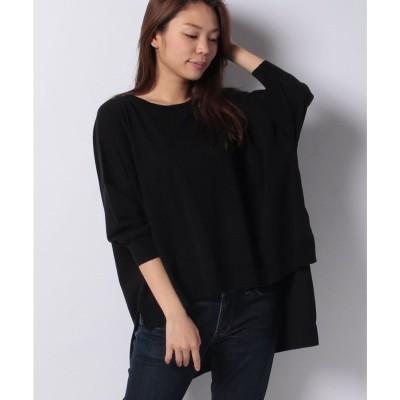 MARcourt tail hem H/S crew neck knit P/O(BLACK)【返品不可商品】