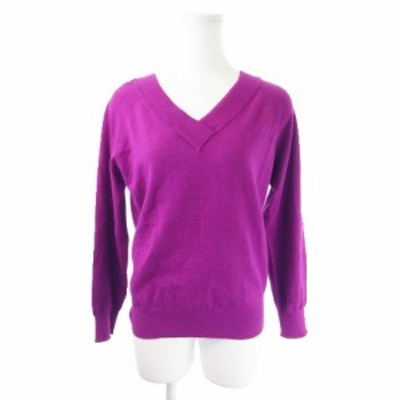 【中古】ビス ViS color ニット セーター Vネック 長袖 ラメ感 M 紫 パープル /MN8 ★ レディース