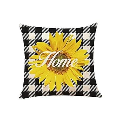 XUWELL Farmhouse Sunflower Home Checker Plaids Cotton Linen Throw Pillow Co