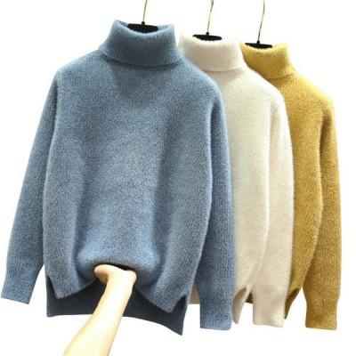レディースセーター レディースニット 厚手 レディース セーター ニット ハイネック ボリュームニット ざっくりニット 長袖 暖か セーター 秋冬  ゆったり