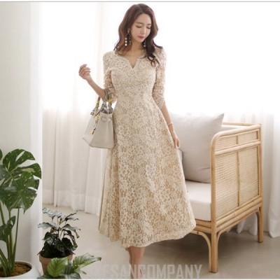 パーティードレス 袖あり 韓国風 結婚式 ドレス レース ワンピース ロング丈 フォーマルドレス 上品 大きいサイズ お呼ばれ 二次会 同窓会 服 着痩せ 20代 30代