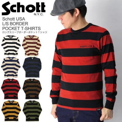 (ショット) Schott ロングスリーブ ボーダー ポケット Tシャツ カットソー メンズ レディース