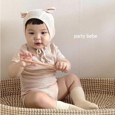 Party kids アニマルフードリブロンパース ベビー服-ミント-S/70cm