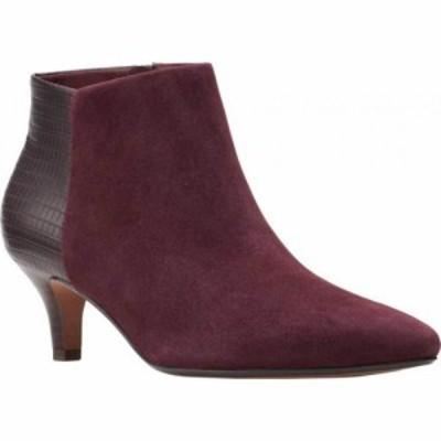 クラークス Clarks レディース ブーツ ショートブーツ シューズ・靴 Linvale Sea Ankle Bootie Burgundy Croco Synthetic Combi/Suede