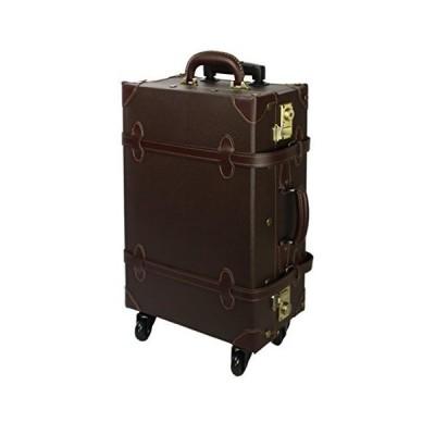 キャリーバッグ キャリーケース スーツケース 修学旅行 軽量 (S,ダークブラウン 81-55035-44)