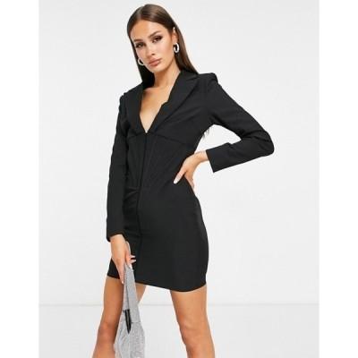 ラビッシュアリス レディース ワンピース トップス Lavish Alice corset detail blazer dress in black