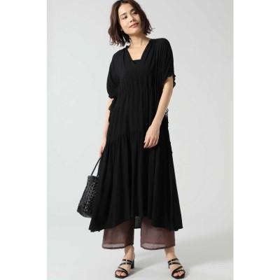 シャーリングドレス ブラック