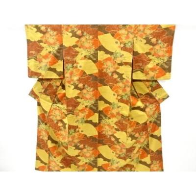 宗sou 地紙に菊・萩模様手織り真綿紬着物【リサイクル】【着】