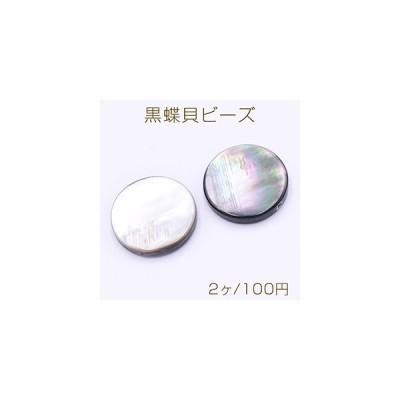 黒蝶貝ビーズ ブラックシェル コイン型 20mm【2ヶ】