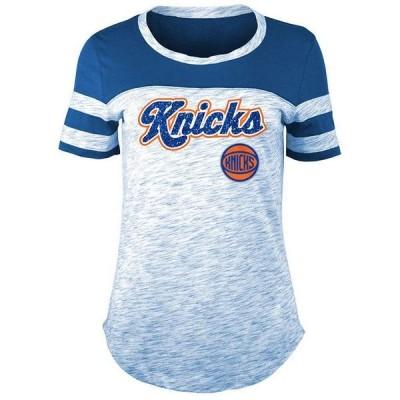 フィフス アンド オーシャン Tシャツ トップス レディース Women's New York Knicks Space Dye T-Shirt Blue