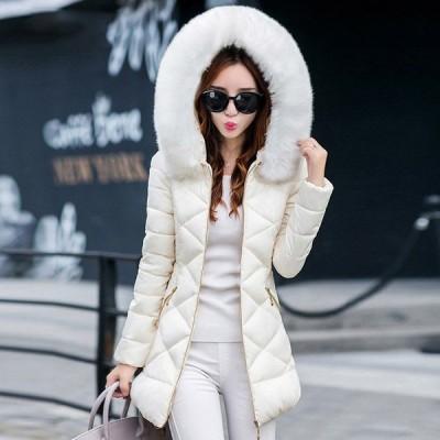 ダウンコート ダウンジャケット レディース 中綿 コート ロング丈 ファー フード付き  カジュアル 着痩せ アウター 体型カバー 秋 冬 暖かい 大きいサイズ