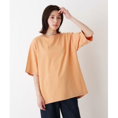 SHOO・LA・RUE/シューラルー USAコットン配色ステッチラウンドヘムTシャツ ライトオレンジ(066) 03(L)