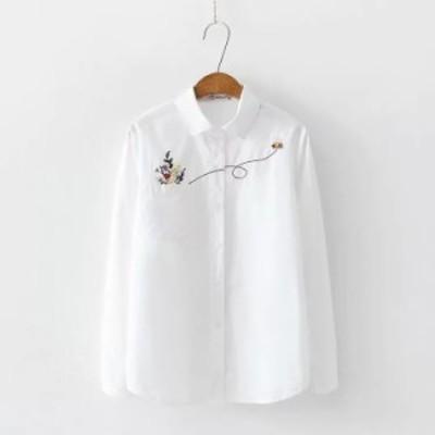 ブラウズ レディース Tシャツ トップス 可愛い 花刺繍 長袖 ブラウズ シャツ 女子高生 ポケット付き シャツ 通勤 通学 おしゃれ