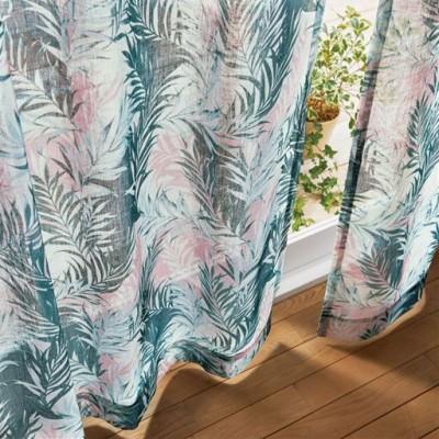 ボイルカーテン(ざっくり織ったトロピカル風)/ピンク系/幅100×丈68cm(2枚組)